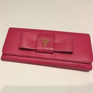 PRADA Pink Fiocco Saffiano Bow Envelope Wallet
